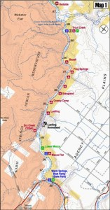 Warm Springs to Trout Creek River Map